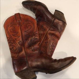 Justin Red Brown Leather Western Cowboy Boots